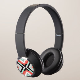 Modern Geometric Coral Mint Black Design Headphones