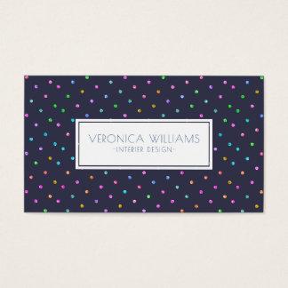 Modern Geometric Dark-Blue & Colorful Dots Pattern Business Card