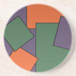 "Modern Geometric Design Coaster<br><div class=""desc"">Custom Sandstone Drink Coaster has a modern tiled geometric pattern in green,  purple,  and orange.</div>"