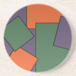 "Modern Geometric Design Coaster<br><div class=""desc"">Custom Sandstone Drink Coaster has a modern tiled geometric pattern in green,  purple,  and orange.</div>"