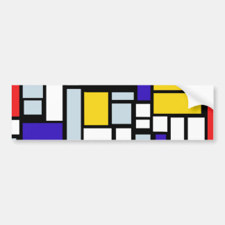 Modern Geometric Design, Primary Colors Bumper Sticker