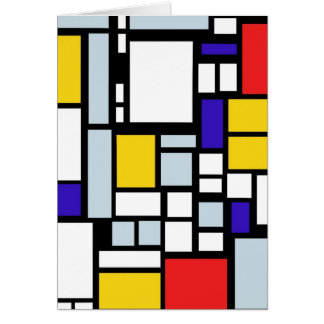 Modern Geometric Design, Primary Colors Greeting Card