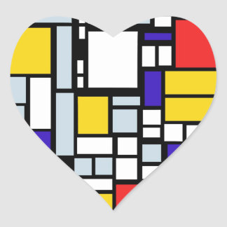 Modern Geometric Design, Primary Colors Heart Sticker