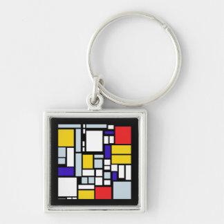 Modern Geometric Design, Primary Colors Keychain
