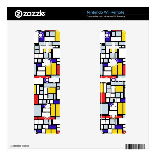 Modern Geometric Design, Primary Colors Decal For Wii Remote