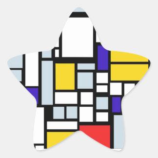Modern Geometric Design, Primary Colors Star Sticker