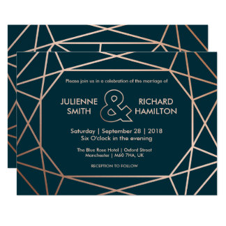 Modern Geometric Diamond Shaped Wedding Invitation