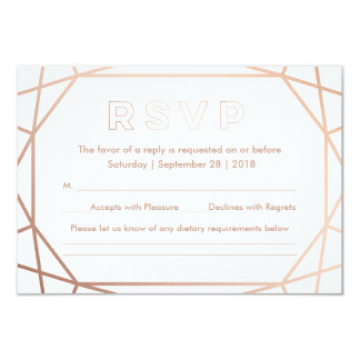 Modern Geometric Diamond Shaped Wedding RSVP Card