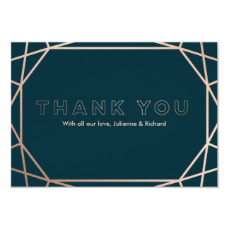 Modern Geometric Diamond Shaped Wedding Thank You Card