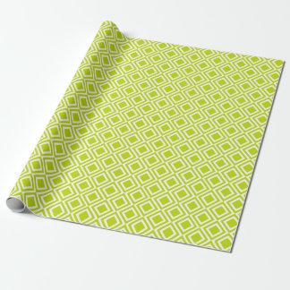 Modern Geometric Diamonds Lime Green Moroccan Wrapping Paper