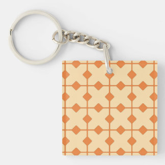 Modern Geometric, Diamonds - Mandarin orange Keychain