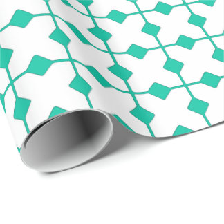Modern Geometric, Diamonds - Turquoise and white Wrapping Paper