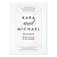 Modern Geometric Emerald Cut Diamond Shape Wedding Card