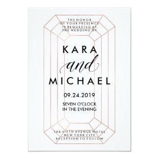 Modern Geometric Emerald Cut Diamond Shape Wedding Card