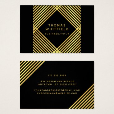Professional Business Modern Geometric Faux Gold on Editable Black Business Card