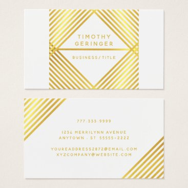 Professional Business Modern Geometric Faux Metallic Gold Stripes Business Card