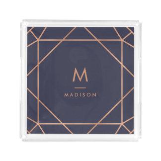 Modern Geometric | Faux Rose Gold on Midnight Blue Acrylic Tray