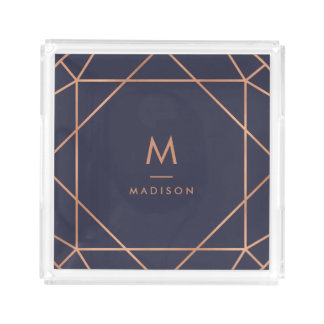 Modern Geometric | Faux Rose Gold on Midnight Blue Acrylic Tray