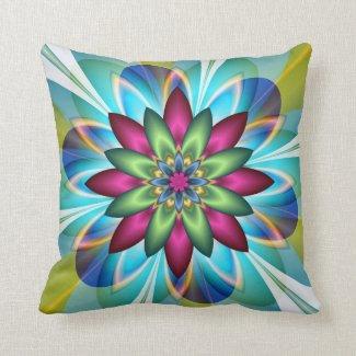 Modern Geometric Floral Design Pillow