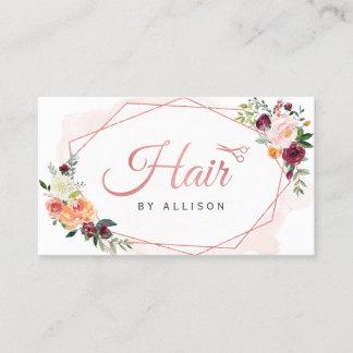 Modern Geometric Frame Floral Hair Stylist Business Card