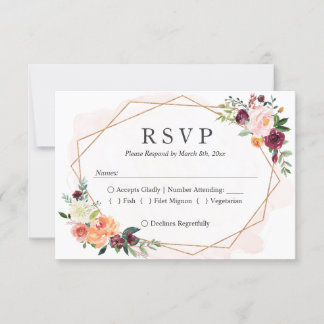 Modern Geometric Frame Floral Wedding RSVP Reply