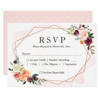Modern Geometric Frame Floral Wedding RSVP Reply Card