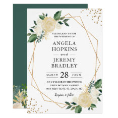 Modern Geometric Frame Nature Green Floral Wedding Card at Zazzle