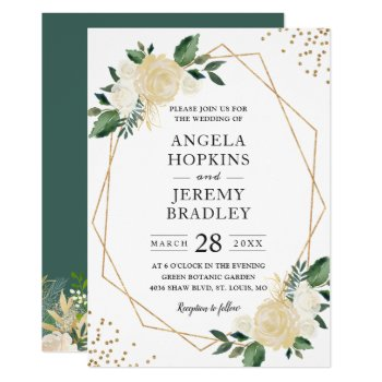 Modern Geometric Frame Nature Green Floral Wedding Card by CardHunter at Zazzle
