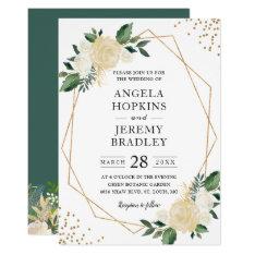 Modern Geometric Frame Nature Green Floral Wedding Invitation at Zazzle