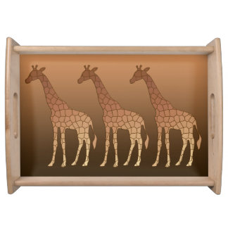 Modern Geometric Giraffe, Copper and Brown Serving Tray