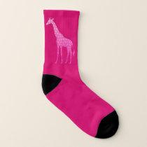 Modern Geometric Giraffe, Fuchsia and Light Pink Socks