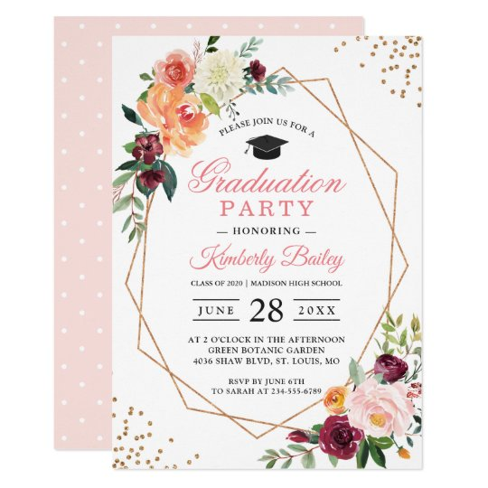 modern geometric gold frame chic floral graduation invitation
