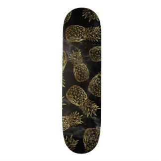 Modern geometric gold pineapples design skateboard deck