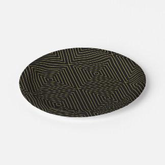 Modern Geometric Gold Squares Pattern on Black Col Paper Plate