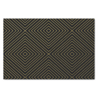 Modern Geometric Gold Squares Pattern on Black Col Tissue Paper