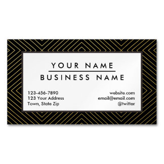 Modern Geometric Gold Squares Pattern on Black Magnetic Business Card