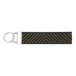 Modern Geometric Gold Squares Pattern on Black Wrist Keychain