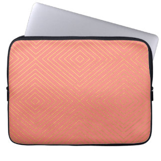 Modern Geometric Gold Squares Pattern on Coral Col Laptop Sleeve