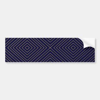 Modern Geometric Gold Squares Pattern on Navy Blue Bumper Sticker