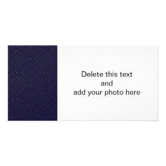Modern Geometric Gold Squares Pattern on Navy Blue Card
