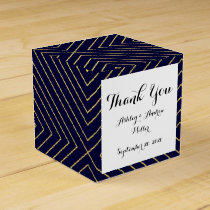 Modern Geometric Gold Squares Pattern on Navy Blue Favor Box
