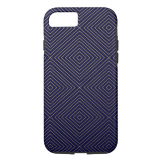 Modern Geometric Gold Squares Pattern on Navy Blue iPhone 8/7 Case