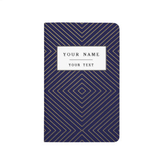 Modern Geometric Gold Squares Pattern on Navy Blue Journal