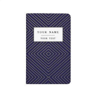 Modern Geometric Gold Squares Pattern on Navy Blue Journal