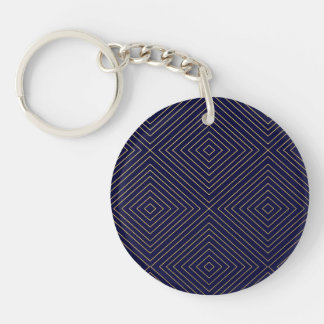 Modern Geometric Gold Squares Pattern on Navy Blue Keychain