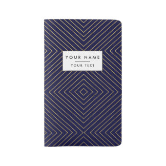 Modern Geometric Gold Squares Pattern on Navy Blue Large Moleskine Notebook Cover With Notebook