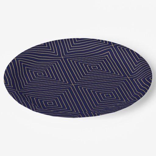 modern geometric gold squares pattern on navy blue paper plate zazzle. Black Bedroom Furniture Sets. Home Design Ideas