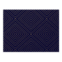 Modern Geometric Gold Squares Pattern on Navy Blue Postcard