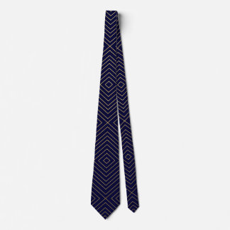 Modern Geometric Gold Squares Pattern on Navy Blue Tie