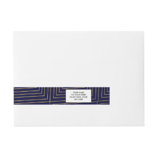 Modern Geometric Gold Squares Pattern on Navy Blue Wrap Around Address Label